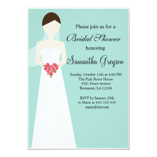 Simple Bride in Gown Bridal Shower Invitation