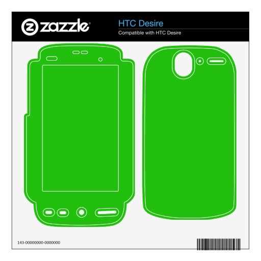 simple bright green color decal for the HTC desire