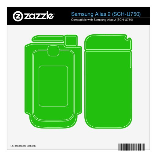 simple bright green color skins for samsung alias 2