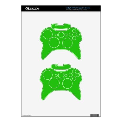simple bright green color xbox 360 controller skin