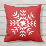 Simple Bright Red and White Christmas Snowflake Outdoor Pillow
