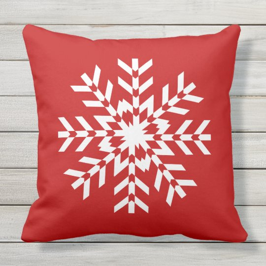 Simple Bright Red And White Christmas Snowflake Outdoor