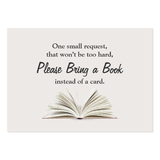 Simple Bring a Book Baby Shower Insert Large Business Cards (pack Of 100)