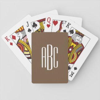 Simple Brown and White Three Letter Monogram Playing Cards
