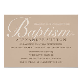 Simple Brown Baptism/Christening Invite