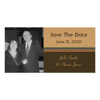 simple brown biege save the date card