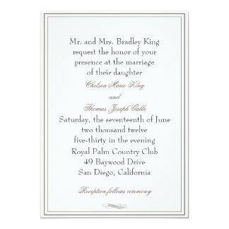 Simple Brown Border Wedding Invitation