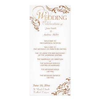 Simple brown color wedding programs custom rack card