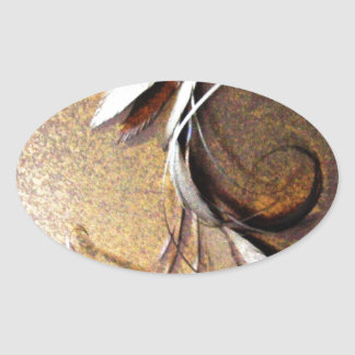 Simple Brown Flower by Robert E Meisinger 2014 Oval Stickers