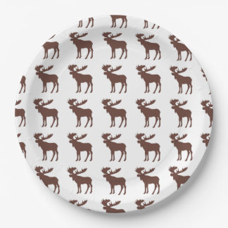 Simple brown moose pattern paper plates 9 inch paper plate
