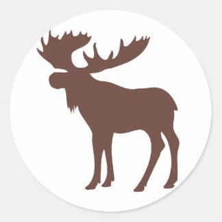 Simple brown moose symbol classic round sticker