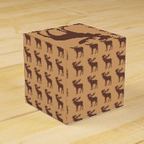 Simple brown moose wedding favor box