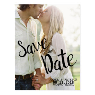 Simple Brush Photo Wedding Save the Date Postcards