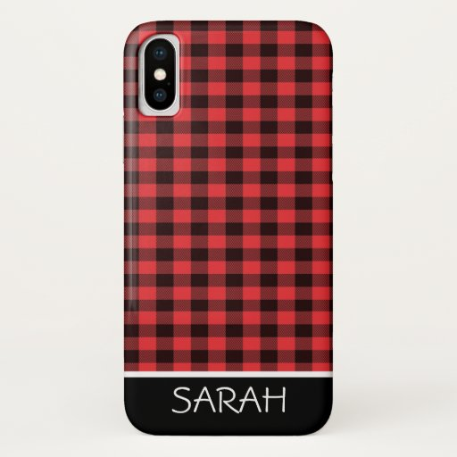 Simple Buffalo Check Black and Red Monogram iPhone X Case