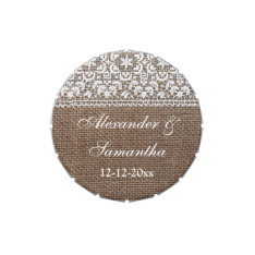 Simple Burlap and Lace Custom Wedding Favor Jelly Belly Candy Tins at Zazzle