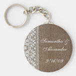 Simple Burlap and Lace Key Chain