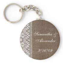 Simple Burlap and Lace Keychain