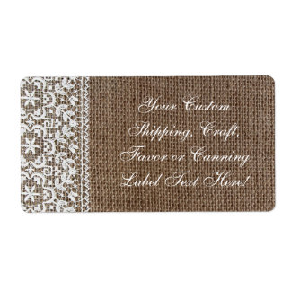 Simple Burlap and Lace Custom Shipping Labels