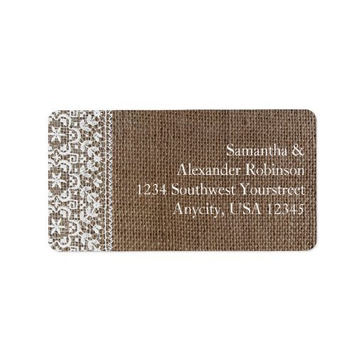 Simple Burlap and Lace Personalized Address Label