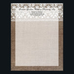 """Simple Burlap and Lace Letterhead<br><div class=""""desc"""">Simple burlap and lace theme is great for a rustic,  outdoor or country wedding.  Textural,  rough-look image of burlap contrasts the soft elegant delicate lace.   Copyright &#169; www.CustomInvitesOnline.com</div>"""
