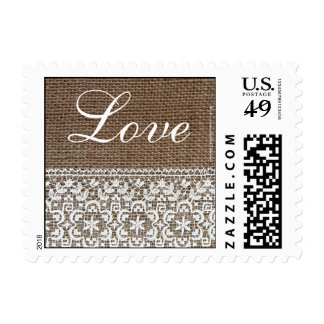Simple Burlap and Lace Postage Stamps