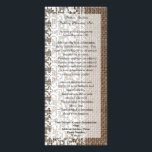 """Simple Burlap and Lace Rack Card<br><div class=""""desc"""">Simple burlap and lace theme is great for a rustic,  outdoor or country wedding.  Textural,  rough-look image of burlap contrasts the soft elegant delicate lace.   Copyright &#169; www.CustomInvitesOnline.com</div>"""