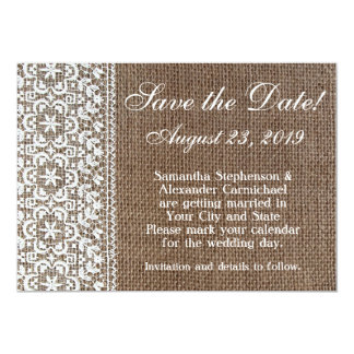 Simple Burlap and Lace Save the Date Card