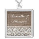 Simple Burlap and Lace Square Pendant Necklace