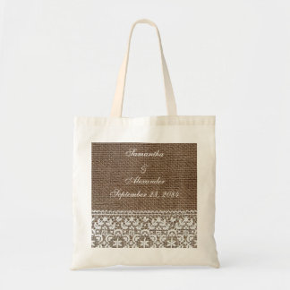 Simple Burlap and Lace Tote Bag