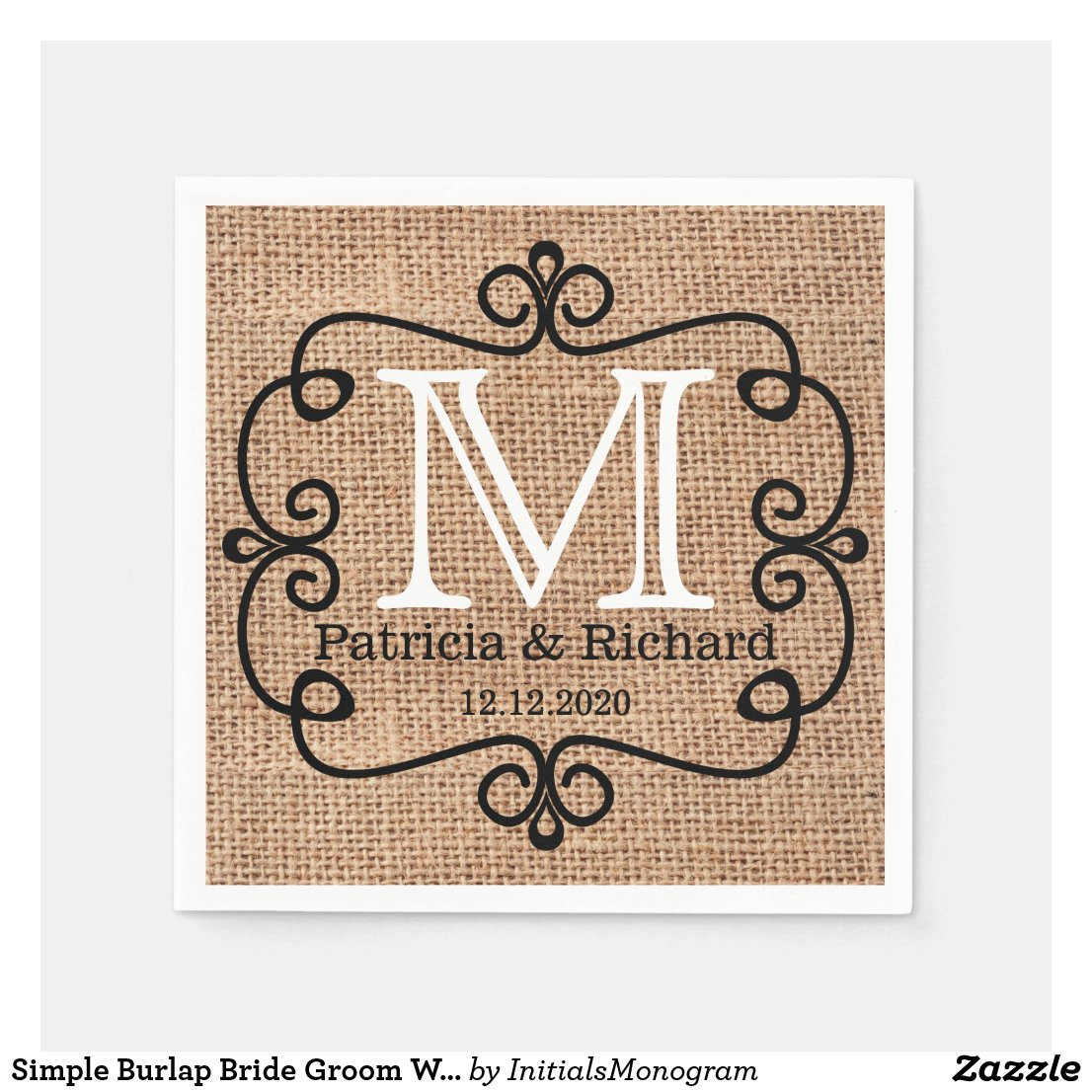 Simple Burlap Bride Groom Wedding Monogram Napkin