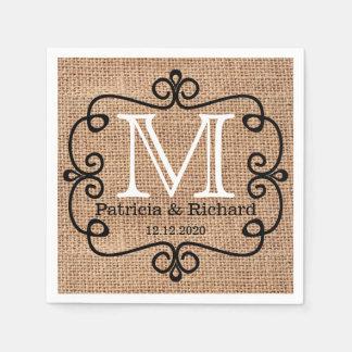 Simple Burlap Bride Groom Wedding Monogram Napkin