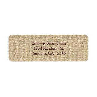 Simple burlap custom return address labels