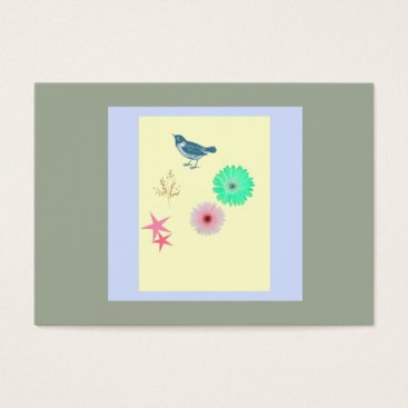 Professional Business Simple Business Card Bird -Flowers - Starfish
