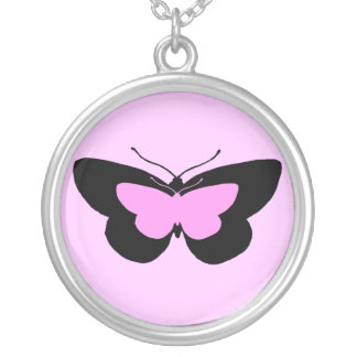 Simple Butterflies in Black & Baby Pink Silver Plated Necklace