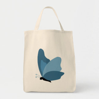 Simple Butterfly - Blue Grocery Tote Bag