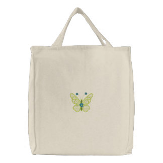 Simple Butterfly embroidered canvas tote bag