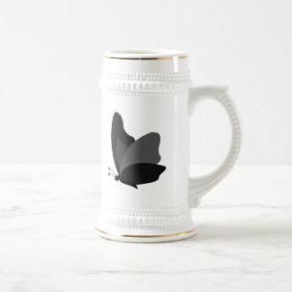 Simple Butterfly - Grey & Black Beer Stein