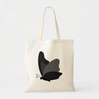 Simple Butterfly - Grey & Black Budget Tote Bag