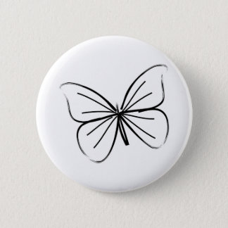 Simple Butterfly Line Drawing Button
