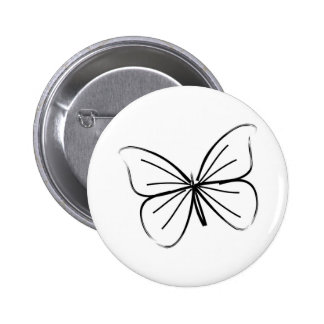 Simple Butterfly Line Drawing Pinback Button