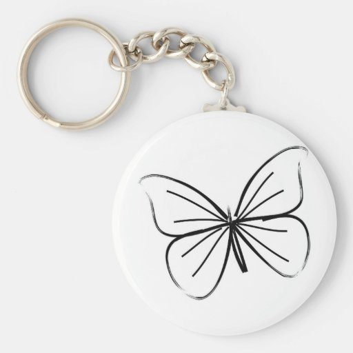 Simple Butterfly Line Drawing Key Chain