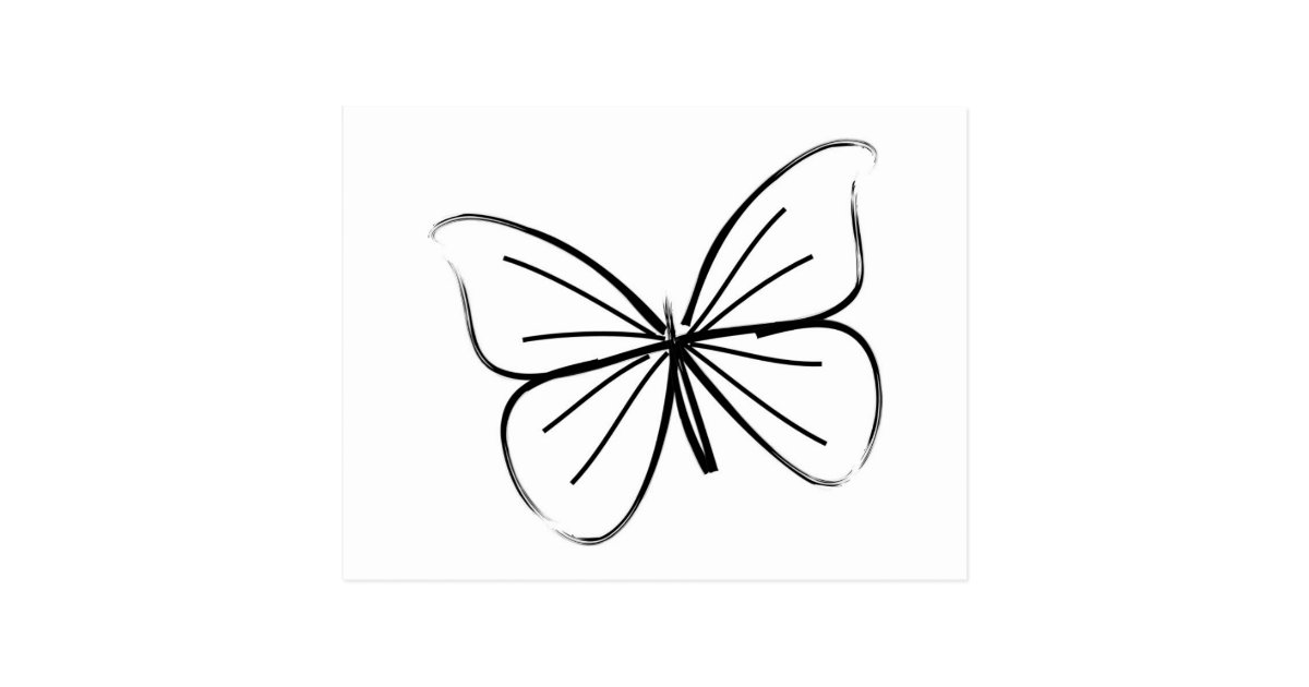 simple butterfly line drawing postcard. Black Bedroom Furniture Sets. Home Design Ideas