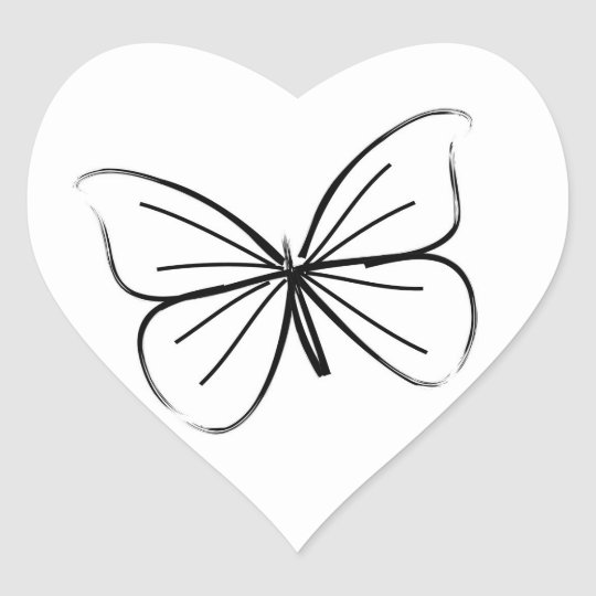 Simple Heart Line Art : Simple butterfly line drawing wedding hearts heart sticker