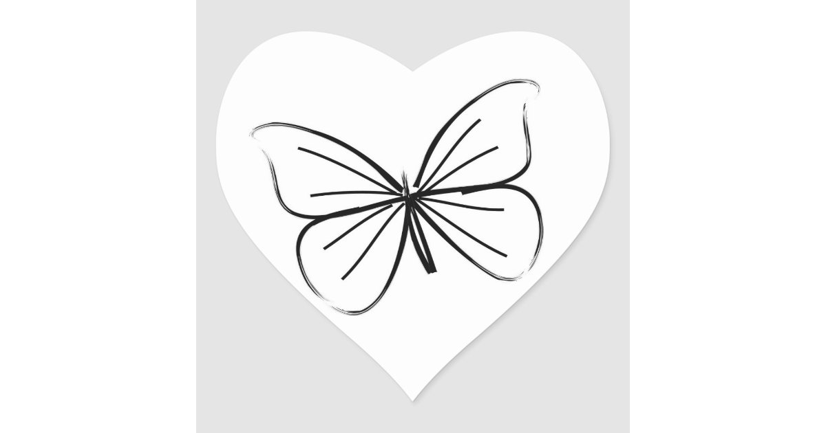 Simple Heart Line Art : Simple butterfly line drawing wedding hearts heart sticker