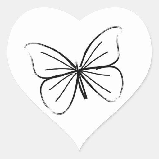 Simple Butterfly Line Drawing Wedding Hearts Heart Sticker ...