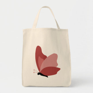 Simple Butterfly - Red Grocery Tote Bag