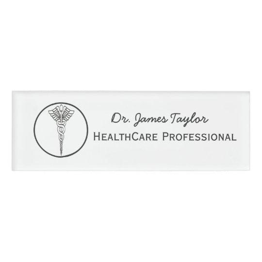 simple caduceus symbol medical healthcare name tag zazzle com