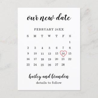 Simple Calendar Red Heart Wedding Postponement Announcement Postcard