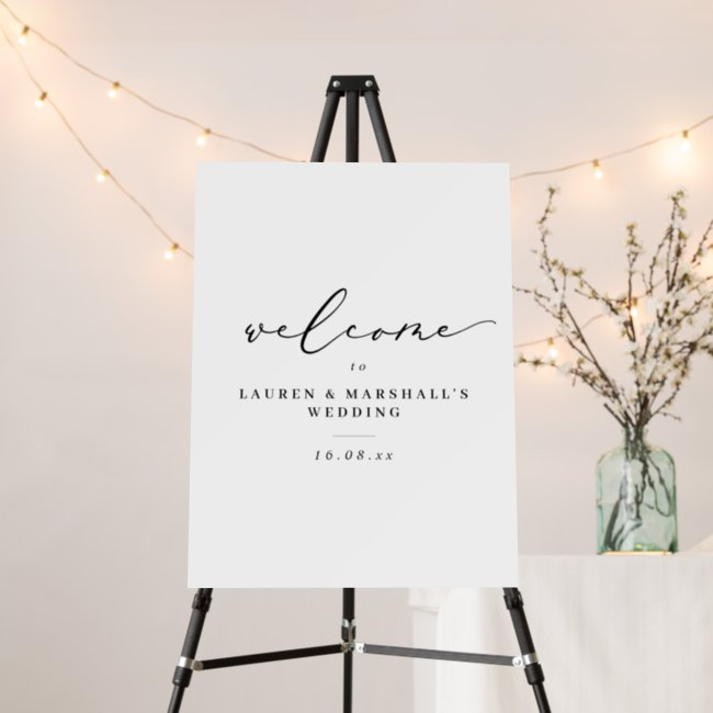 Simple Calligraphy Black and White Wedding Welcome Foam Board