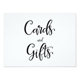 "Simple Calligraphy | ""Cards and gifts"" Sign Card"